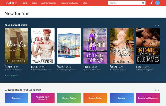 Bookbub - website to read books online