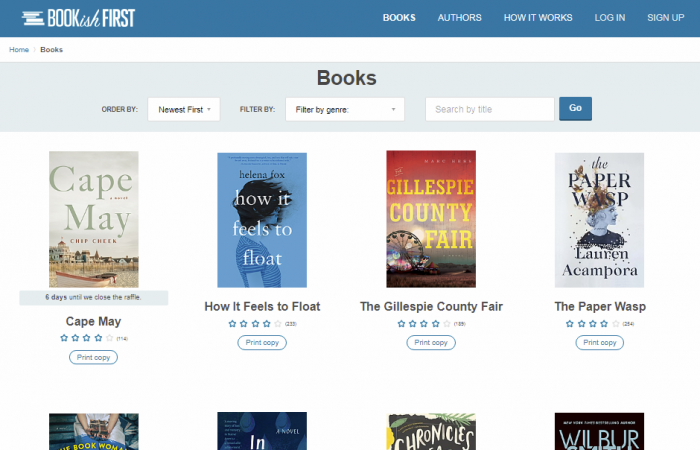 Bookishfirst - wesbite to read free books