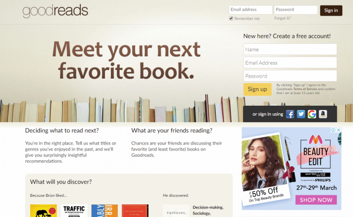 Goodreads- read free online books