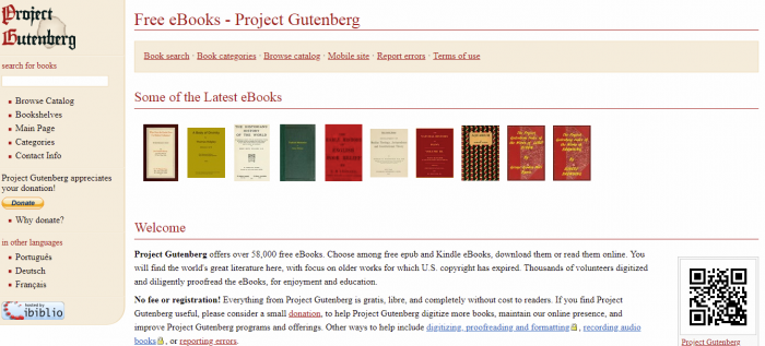 Project Gutenberg - Free books to Read