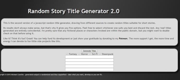 Random Book Title Generator 2.0