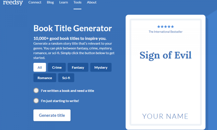 Reedsy Book Title Generator