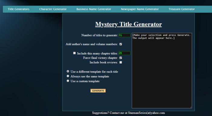 Starman Series - Mystery Title Generator