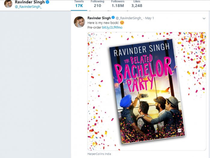 The Belated Bachelor Party Ravinder Singh latest book