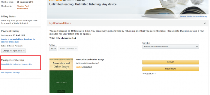 Cancel Kindle unlimited membership