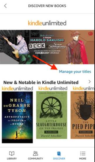 Manage your titles on Kindle unlimited