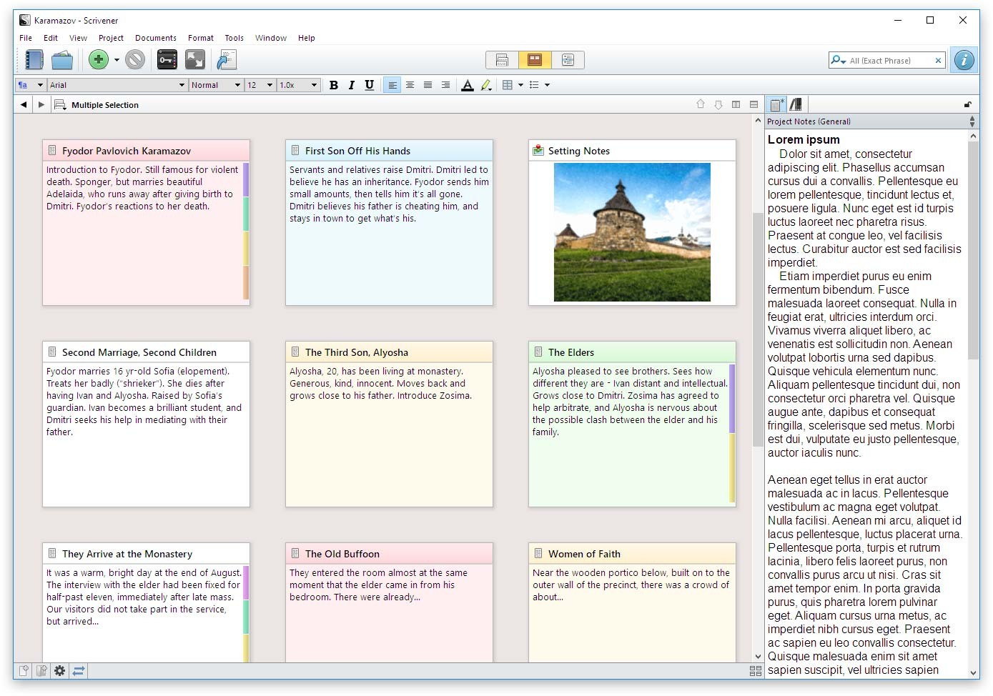 Corkboard Inpector in Scrivener