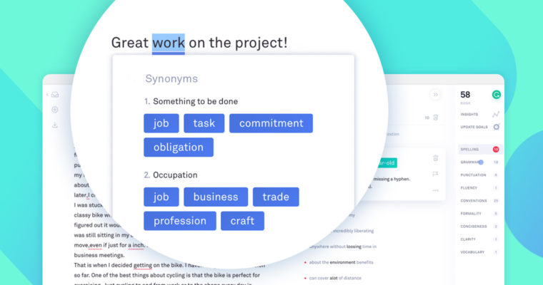 Grammarly Suggest words tool
