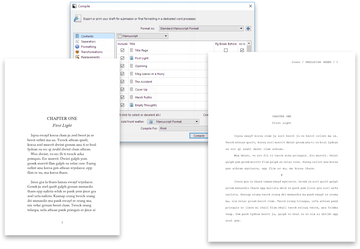 Print, Export and Publish in Scrivener